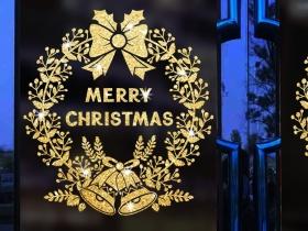 圣诞闪粉玻璃贴纸