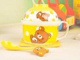 卡通懶熊面杯碗