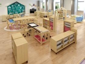 幼儿园活动室儿童实木家具设计