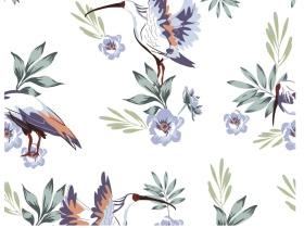 朱鹮牡丹花卉图家居服