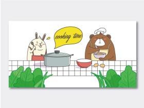 厨房防油贴纸卡通插画