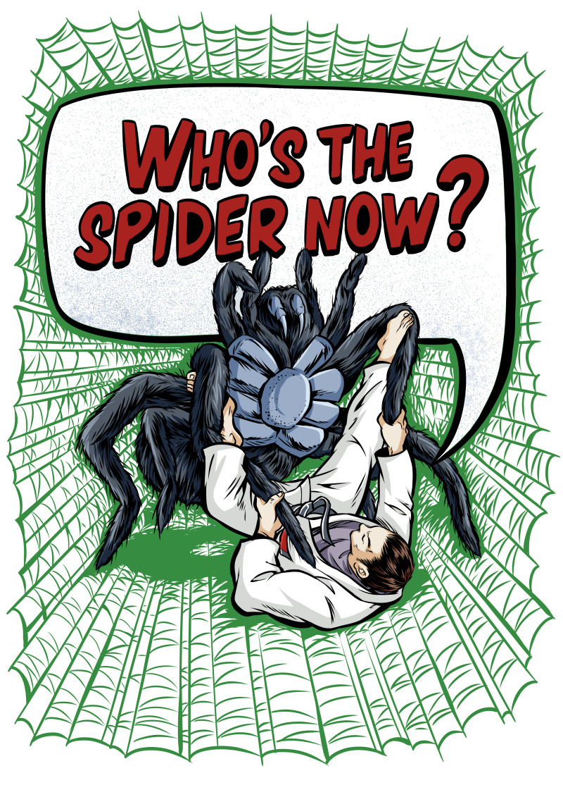 蜘蛛搏斗印花