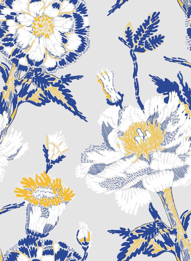 新中式素色花卉图案1