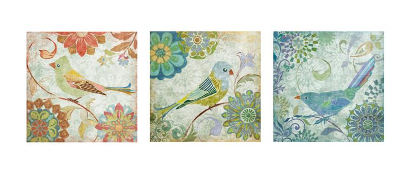 春天抽象花鸟图案