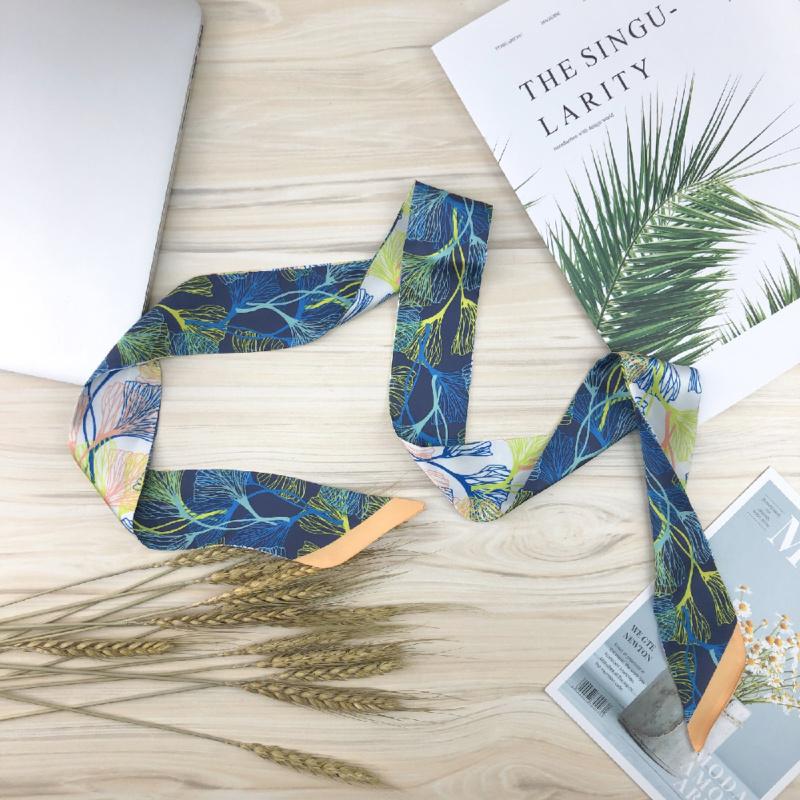 外貿原創清新絲巾頭巾窄巾花型EM0016