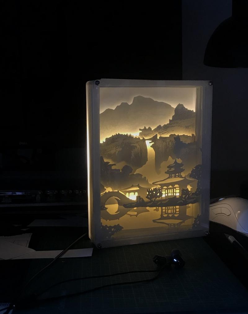 古典园林主题纸雕灯