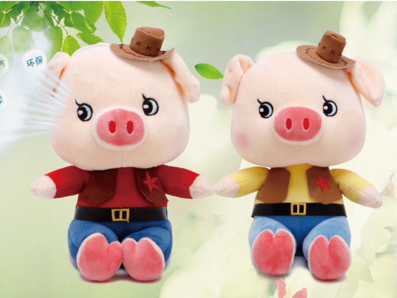 牛仔猪玩偶