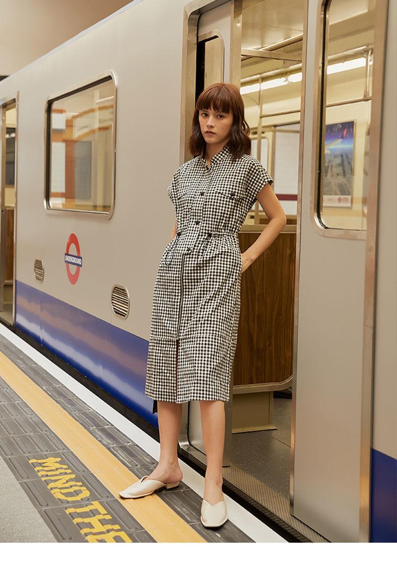 復古裙拉鏈高腰格子連衣裙