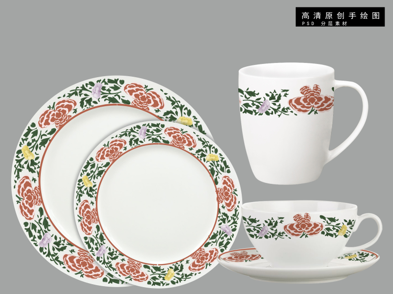 中国风古典陶瓷花纸