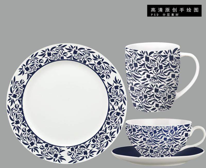 中国风古典青花瓷陶瓷花纸
