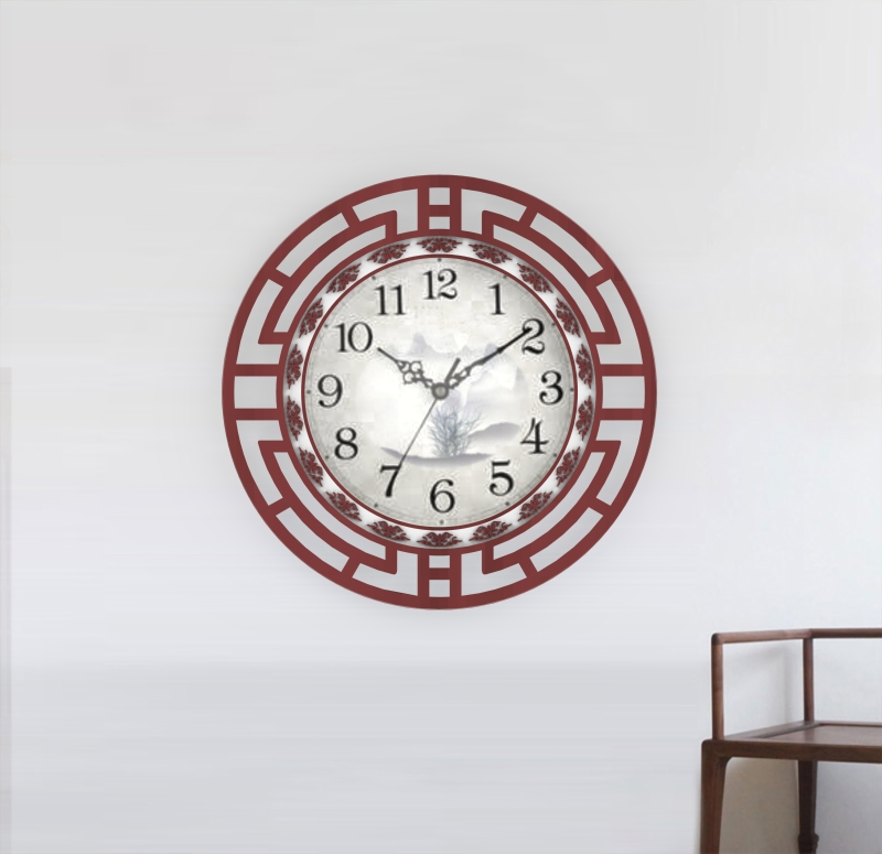 中式古典木质挂钟