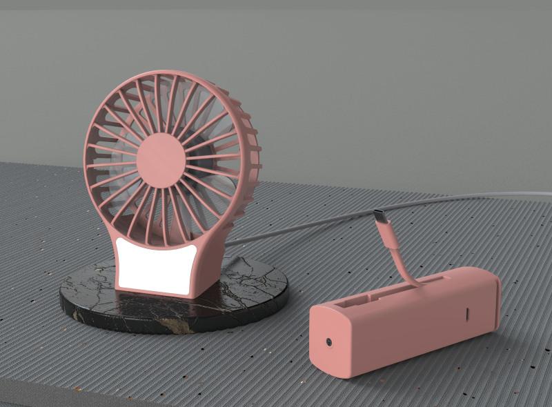 桌面手持風扇+應急充電寶