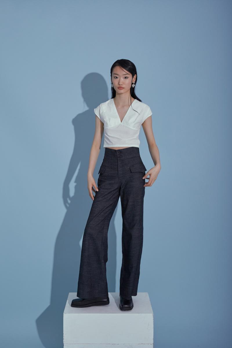 侧袋牛仔裤