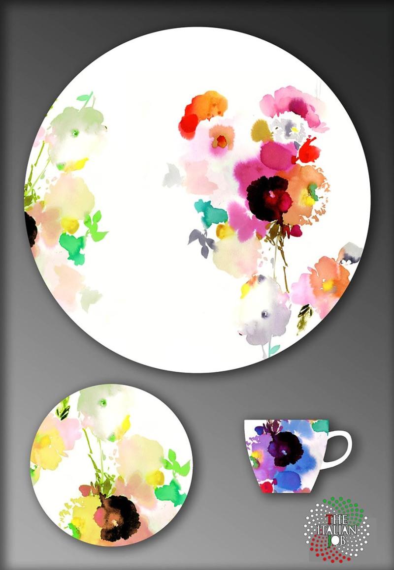 水彩花卉陶瓷圖案設計