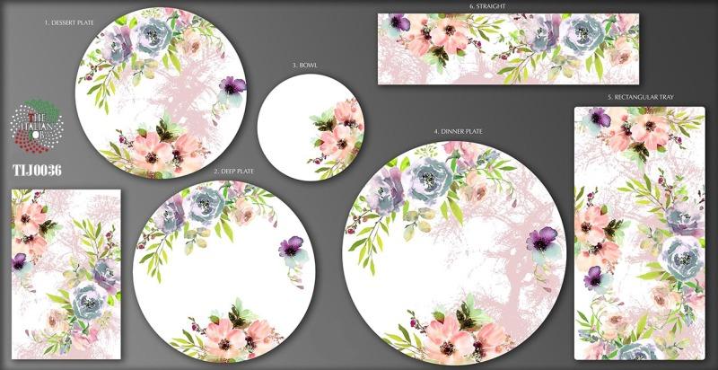 粉彩花卉陶瓷图案