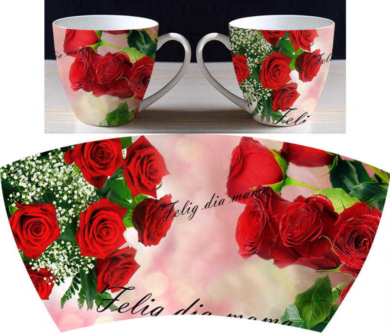 玫瑰花陶瓷杯花紙