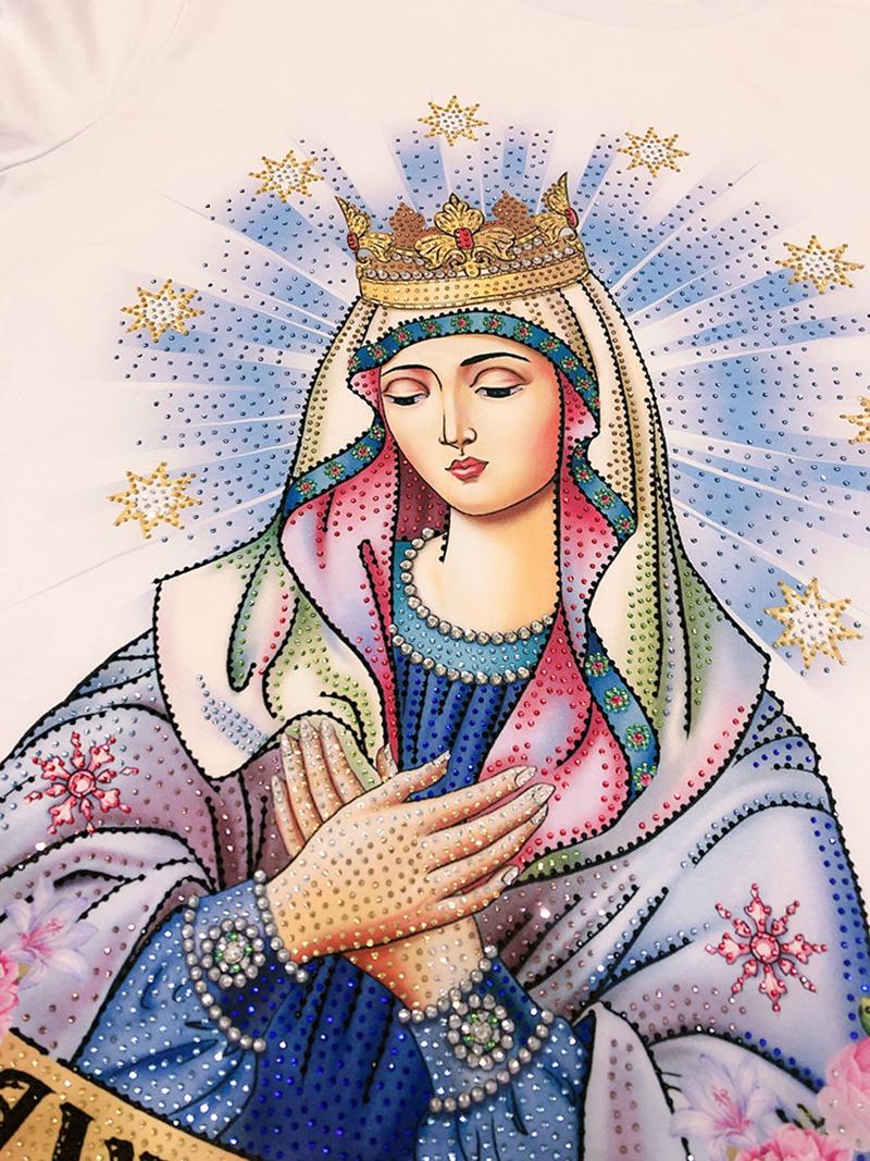 手绘原创欧美潮牌圣母亮钻T恤图案