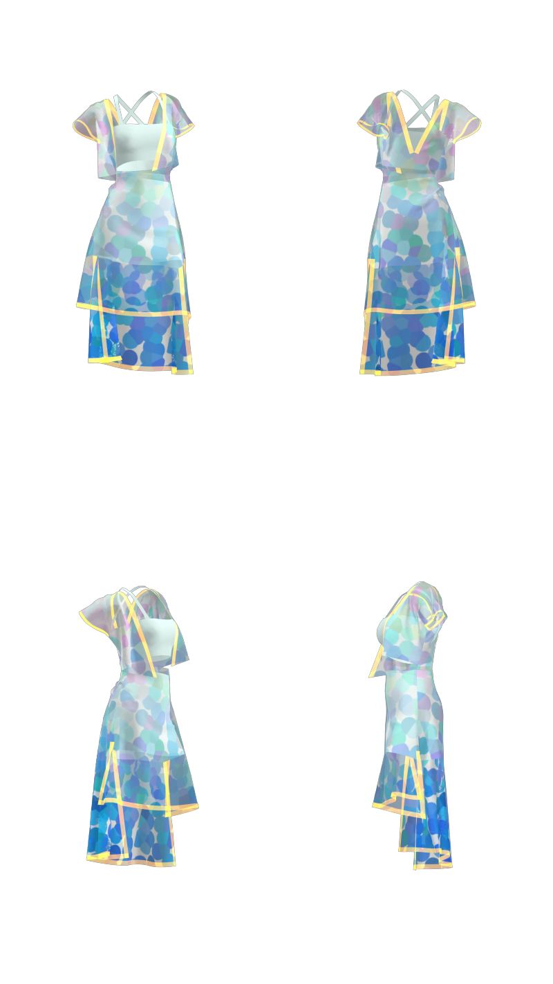 蓝色系波点露脐裙装