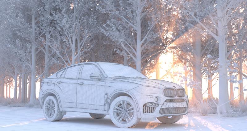 汽车森林场景渲染