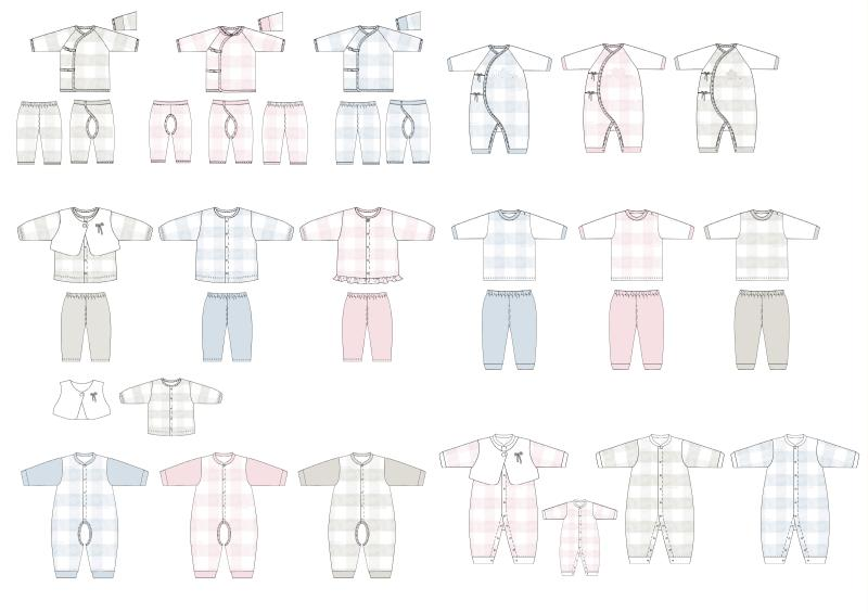 婴装系列设计-格子系列