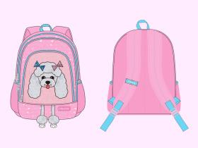 女童款-贵宾犬主题元素背包 狗狗 宠物图案主题书包