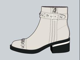 米色女靴铆钉短靴