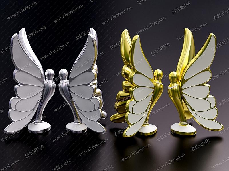工艺陶瓷蝴蝶摆件