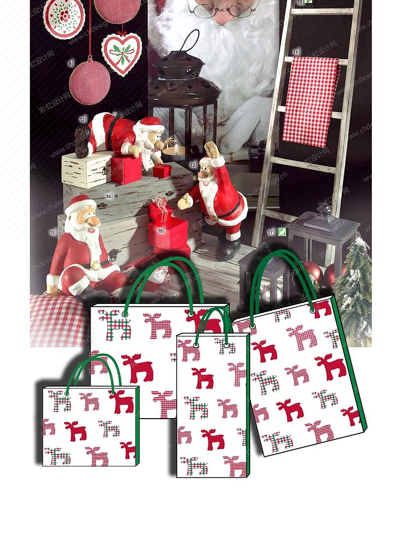 红绿圣诞鹿袋子