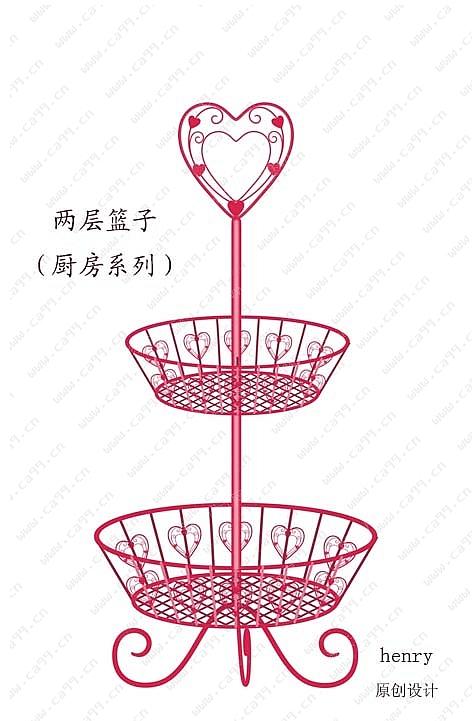 心形两层果盆架