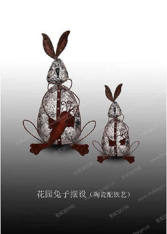 复活节花园兔子摆设(陶瓷配铁艺)