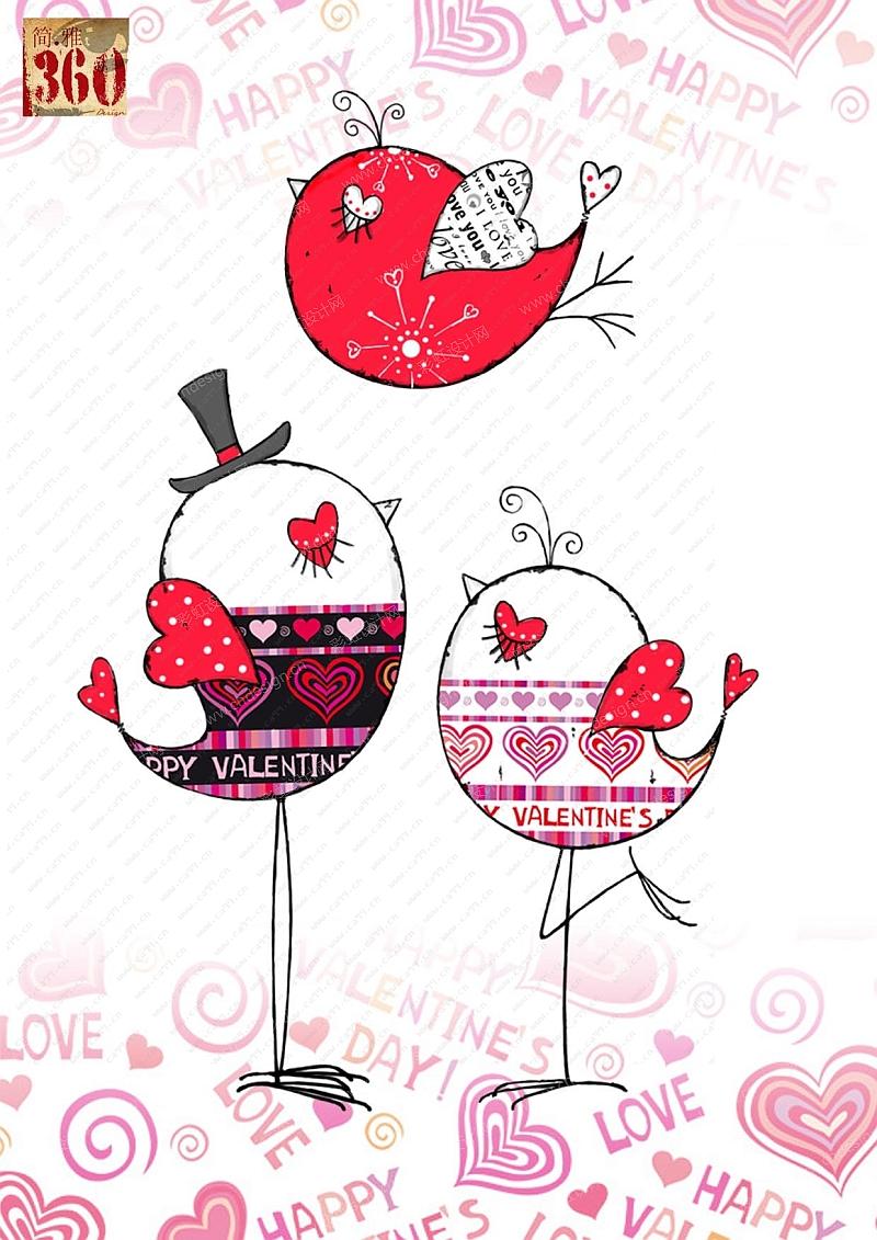 情人节系列小鸟摆件