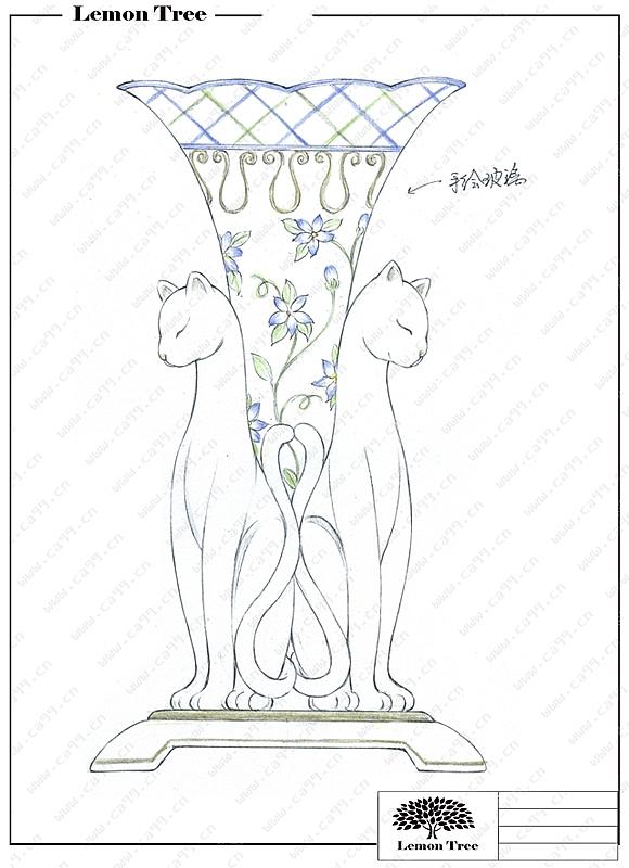 陶瓷猫+手绘玻璃