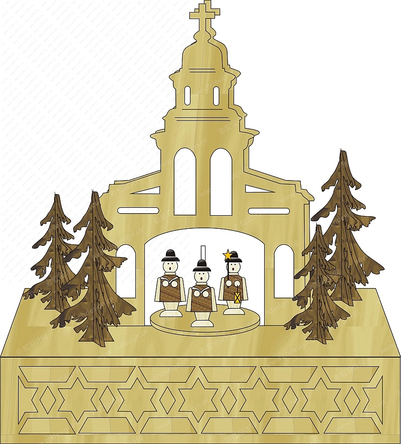 圣诞节日木制激光雕刻烛台