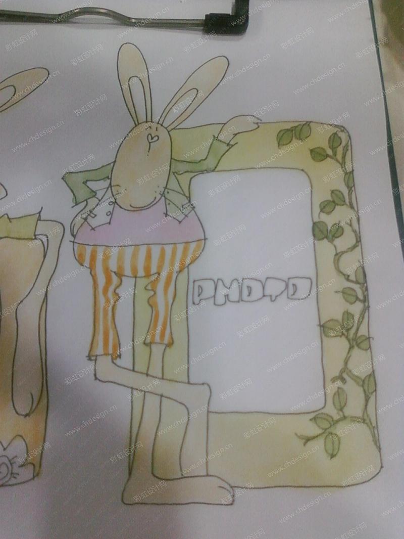 春天兔子相框