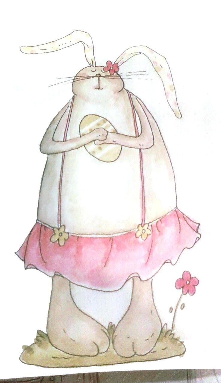树脂春天兔子摆件