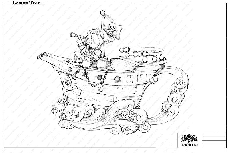 陶瓷海盗船茶壶