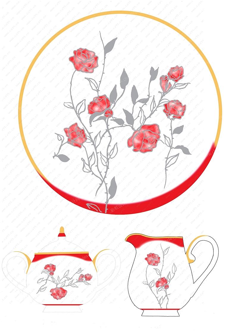 午夜玫瑰茶壶