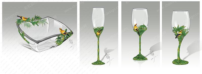 珐琅彩玻璃高脚杯