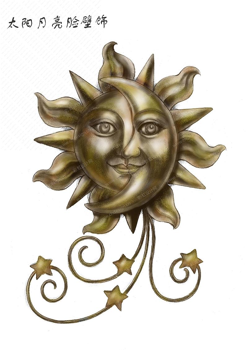 太阳月亮脸壁挂