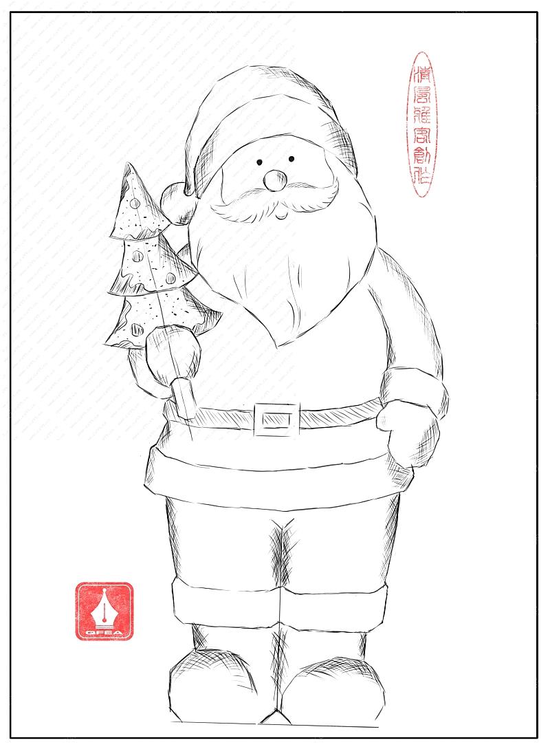 白描圣诞老人草稿