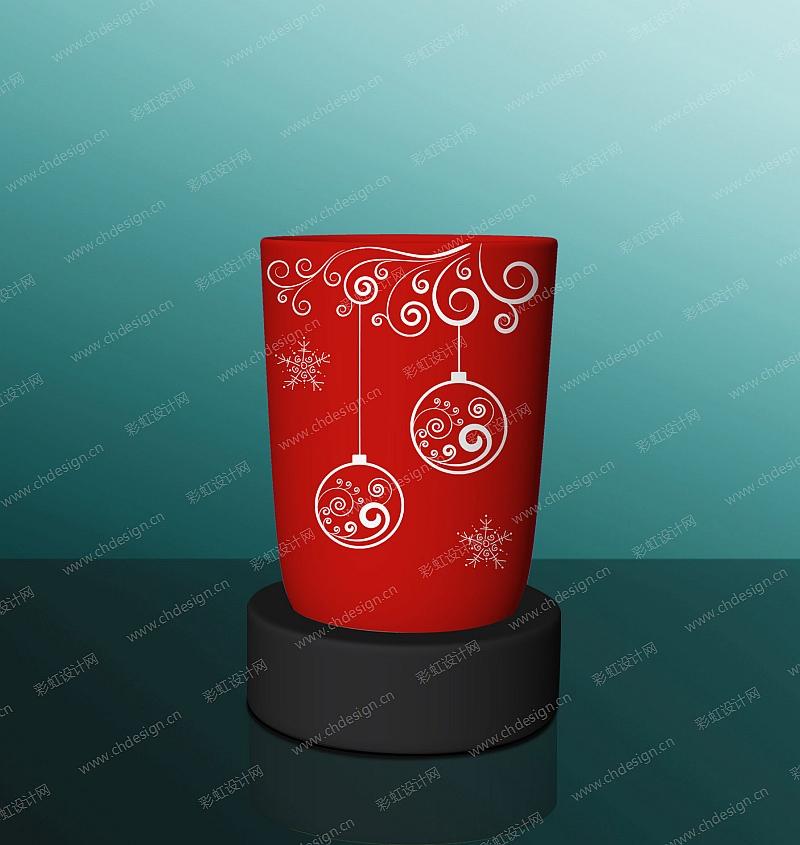 玻璃罐圣诞图案烛台