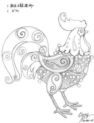 铁艺+铁线公鸡