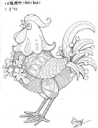铁艺+铁线公鸡摆件