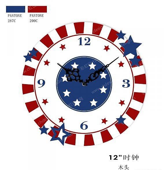 壁挂时钟美国国旗元素