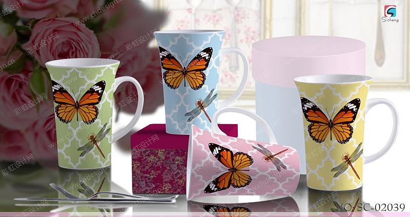 陶瓷花面设计马克杯