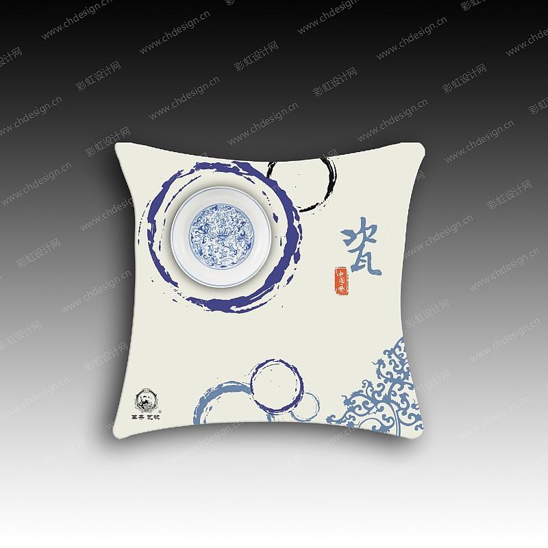 中国风家纺青花抱枕
