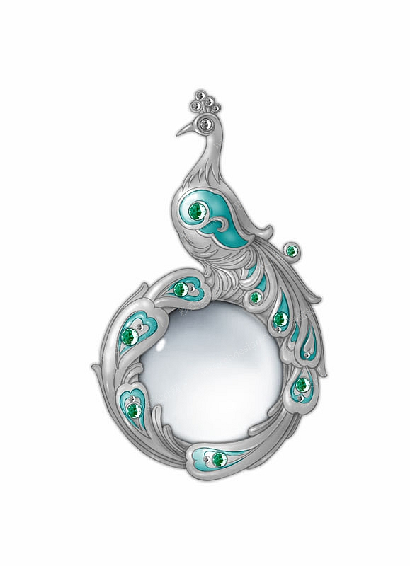复古奢华孔雀单面镜