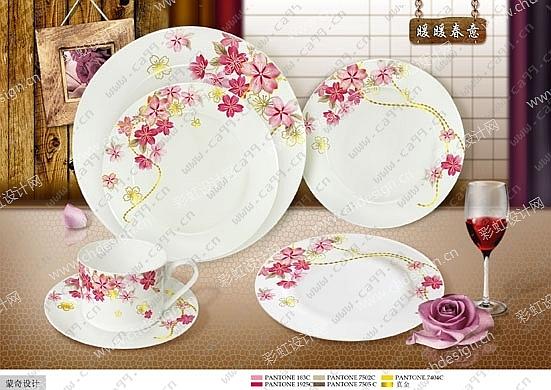 歐式 現代 圖案花 餐具 陶瓷花面花紙設計