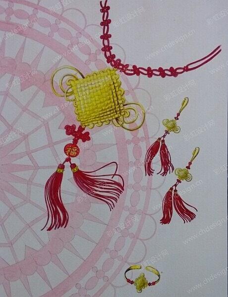 中国结黄金三件套首饰设计