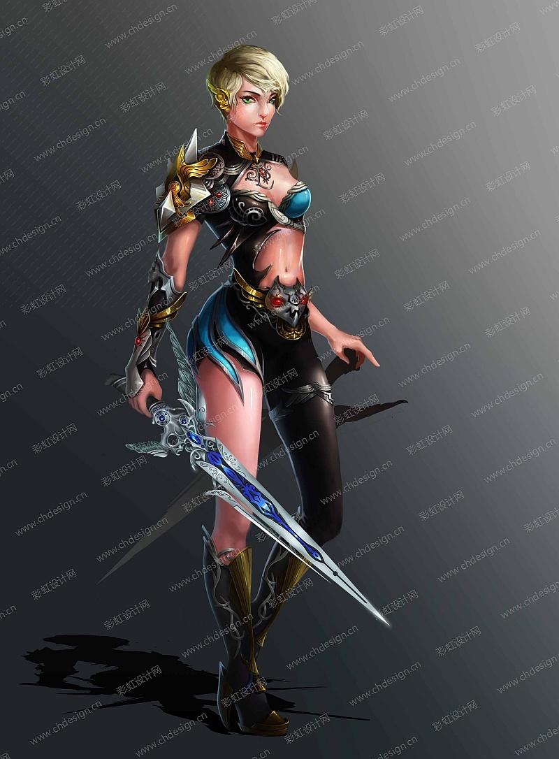 游戏原画写实风格女刺客